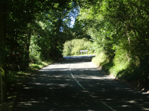 Clarkes Lane, Tatsfield. Can you see the black clad ninja cyclist in the shadows?